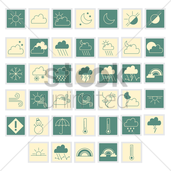 set of weather vector graphic