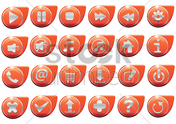 set of web button vector graphic