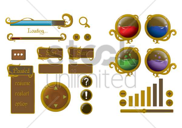 set of web buttons vector graphic