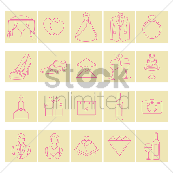 set of wedding icons vector graphic