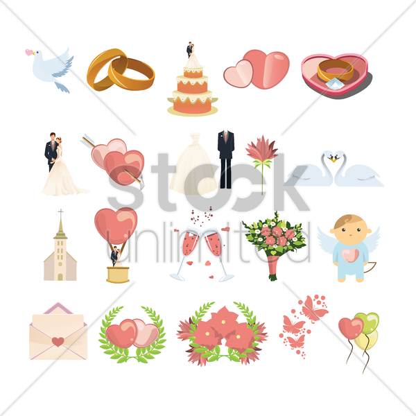 set of wedding items vector graphic