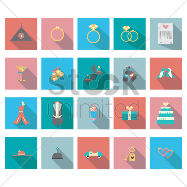set of wedding theme icons vector graphic