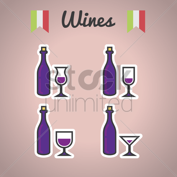 set of wine bottles and glasses vector graphic