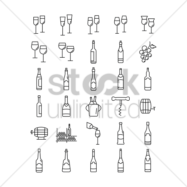 set of wine icons vector graphic