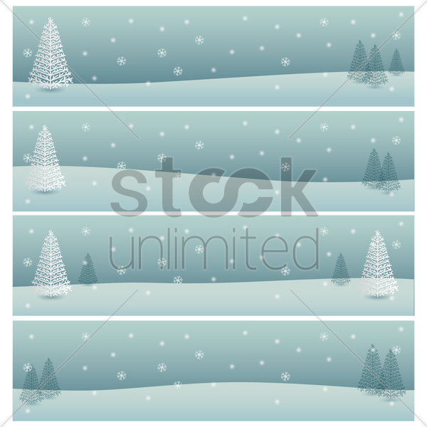 set of winter banners vector graphic