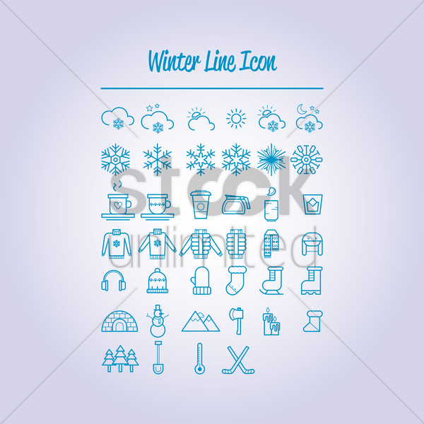 Free set of winter icons vector graphic