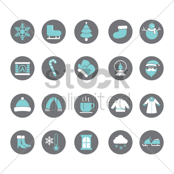 set of winter icons vector graphic