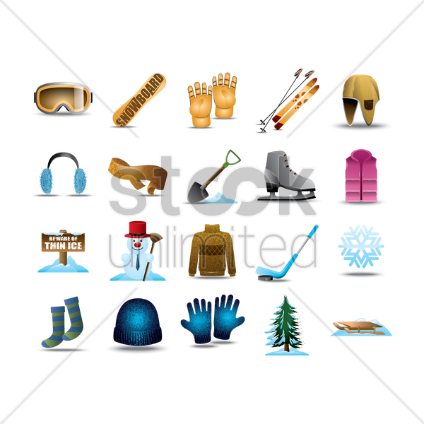 set of winter items vector graphic