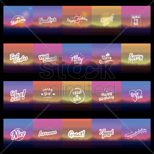 set of wishes icons vector graphic
