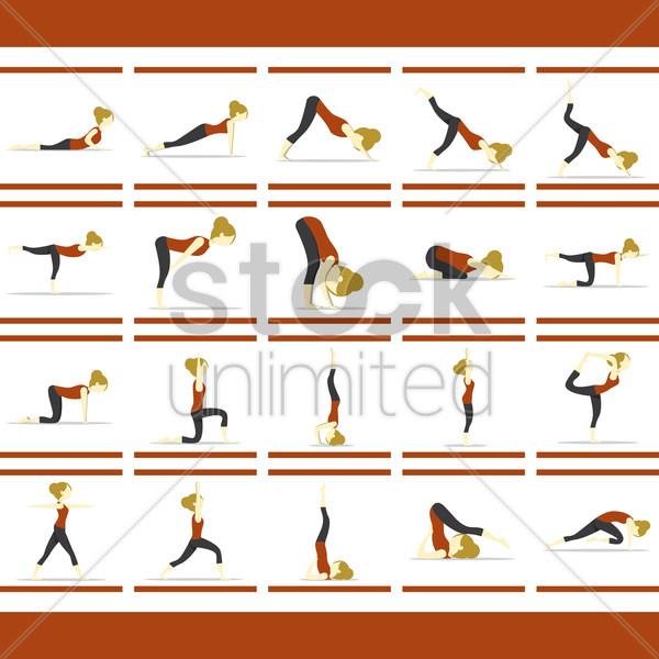 set of yoga icons vector graphic