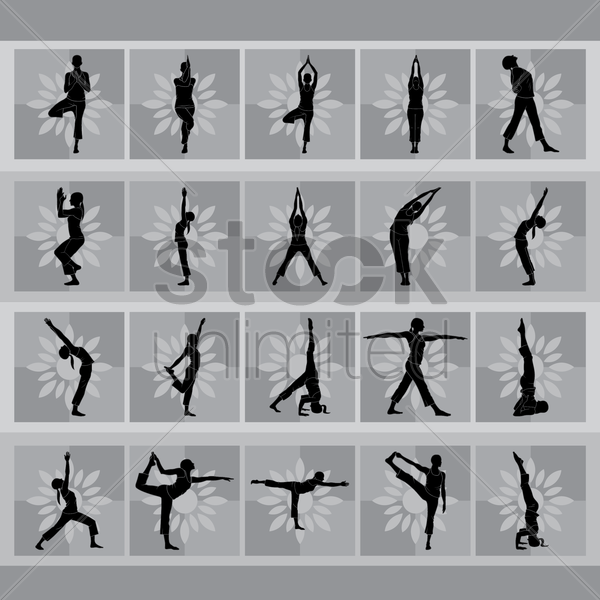 Free set of yoga icons vector graphic