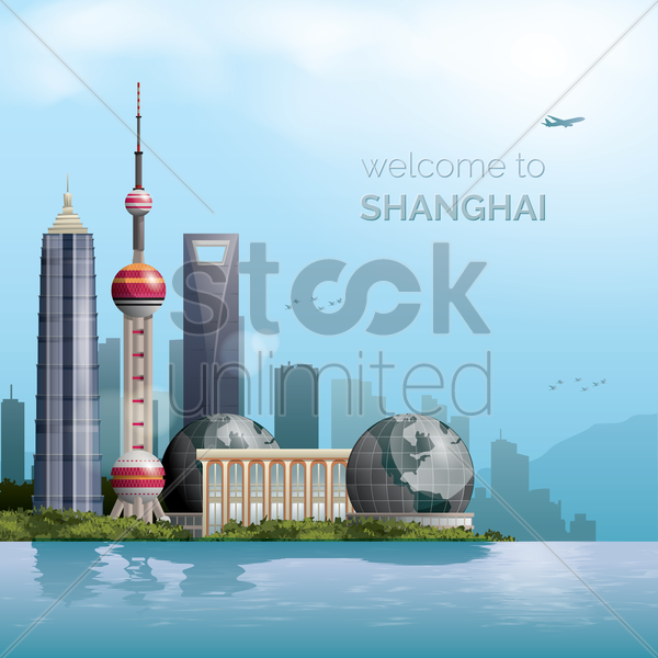 shanghai wallpaper vector graphic