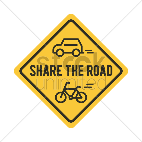share the road sign with bicycle and car vector graphic
