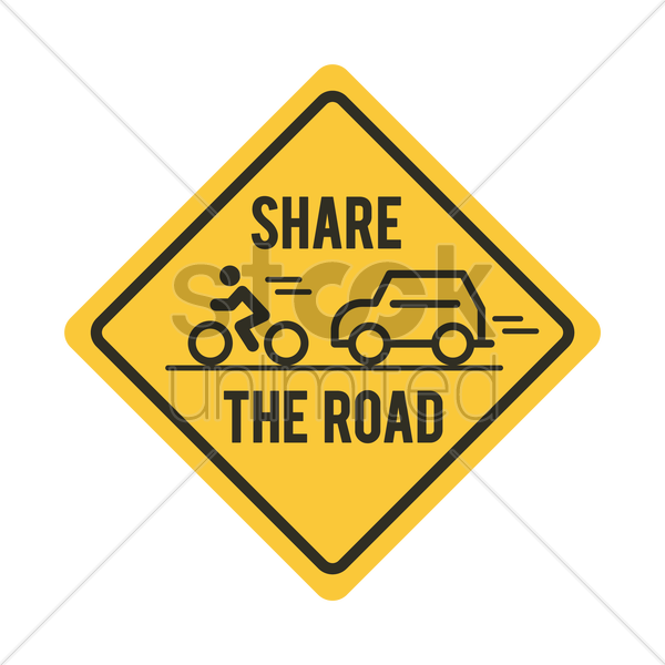 share the road with bicycle and car road sign vector graphic