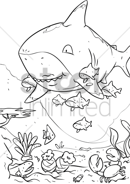 sharks with baby pups vector graphic