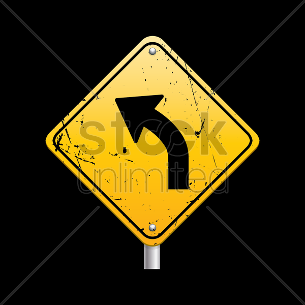 sharp curve ahead sign vector graphic