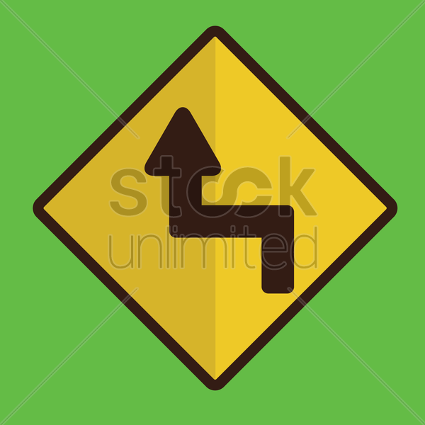sharp reverse left turns ahead sign vector graphic