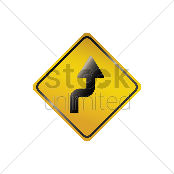 sharp reverse right turns ahead sign vector graphic
