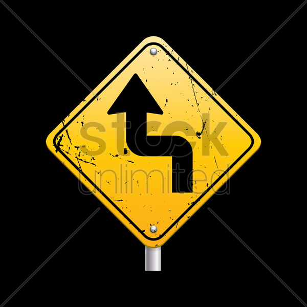 sharp reverse turns ahead sign vector graphic