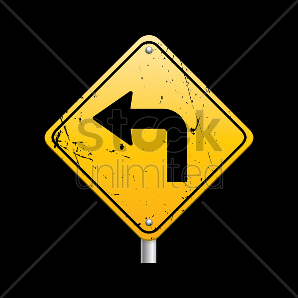 sharp turn ahead sign vector graphic