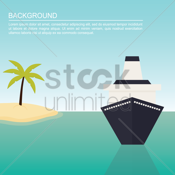 ship and tree on beach background vector graphic
