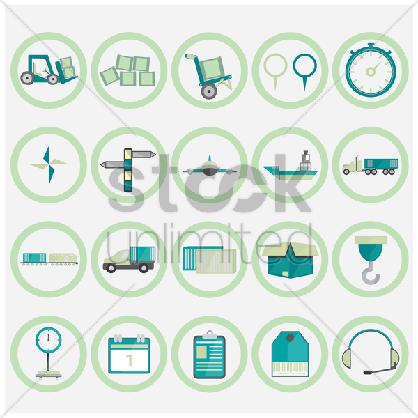 shipping and logistic icons collection vector graphic