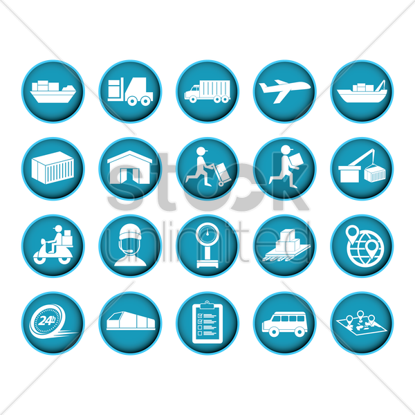shipping and logistic icons vector graphic