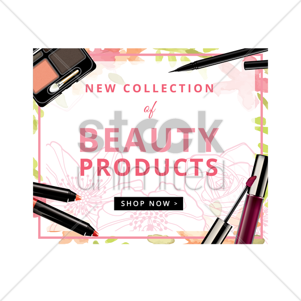 shop now beauty products vector graphic
