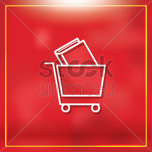 shopping cart with book vector graphic