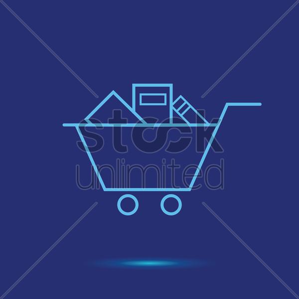 shopping cart with books icon vector graphic