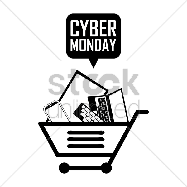shopping cart with cyber monday speech bubble vector graphic