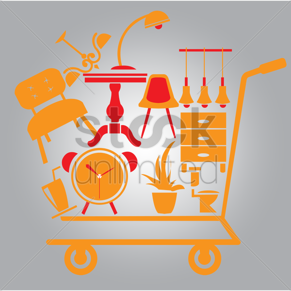 shopping cart with home accessories vector graphic
