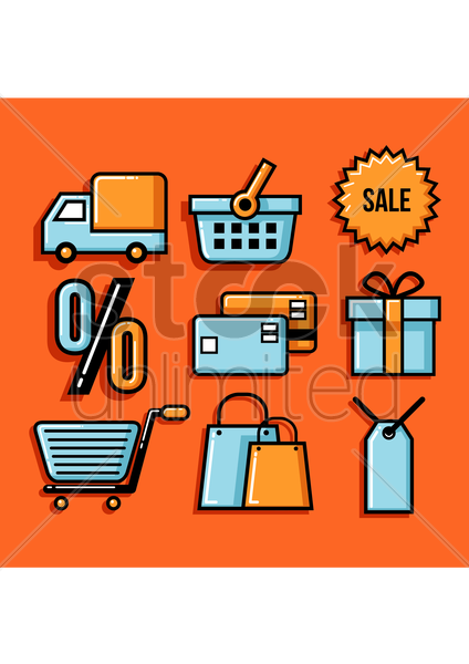 shopping collection vector graphic