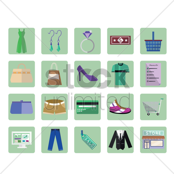 shopping icon set vector graphic
