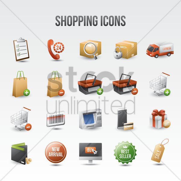 Free shopping icon set vector graphic