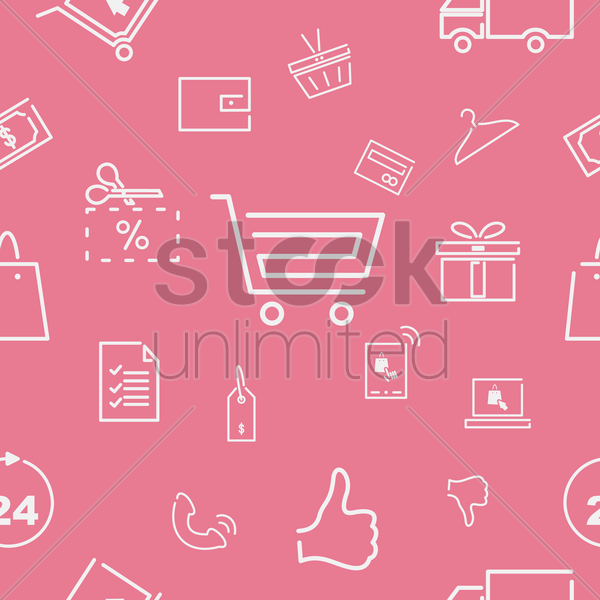 shopping icons pattern vector graphic