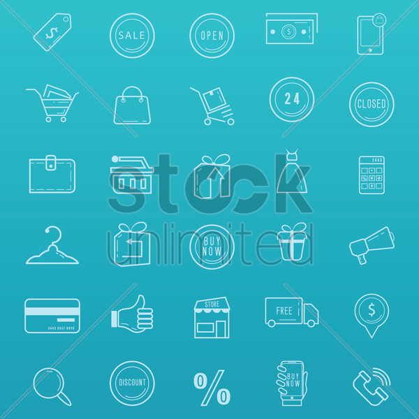 shopping icons set vector graphic