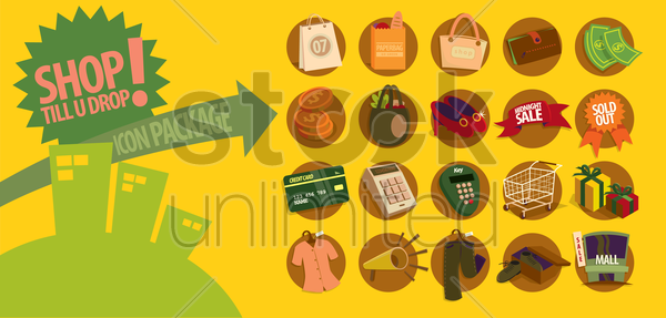 shopping icons vector graphic