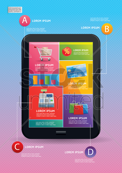 shopping infographic vector graphic
