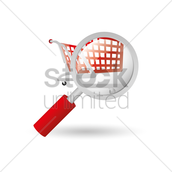 shopping push cart and magnifying glass vector graphic