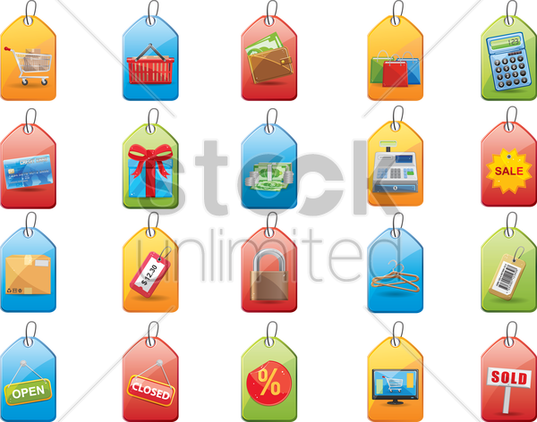shopping tags vector graphic