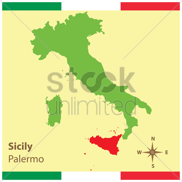 sicily on italy map vector graphic