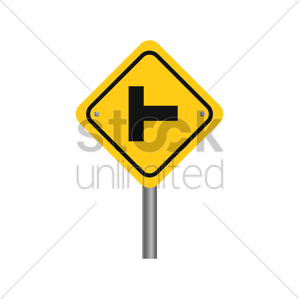 side road at a perpendicular angle sign vector graphic
