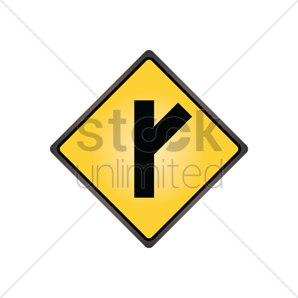 side road at an acute angle sign vector graphic