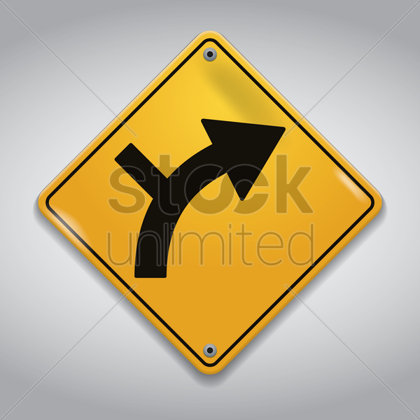 side road junction on a curve road sign vector graphic