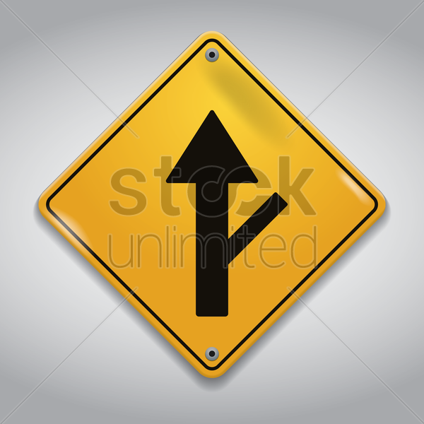 side road right sign vector graphic