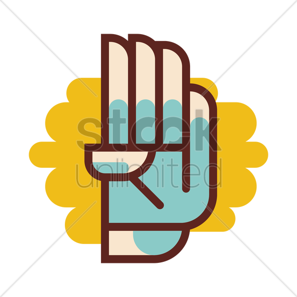 sign language number four vector image 1320327