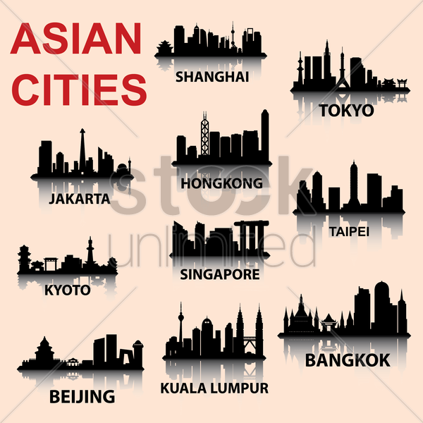 silhouette background of asian cities vector graphic