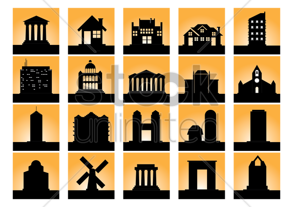 silhouette of buildings vector graphic