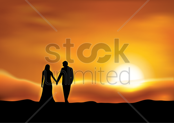 silhouette of couple at sunset vector graphic